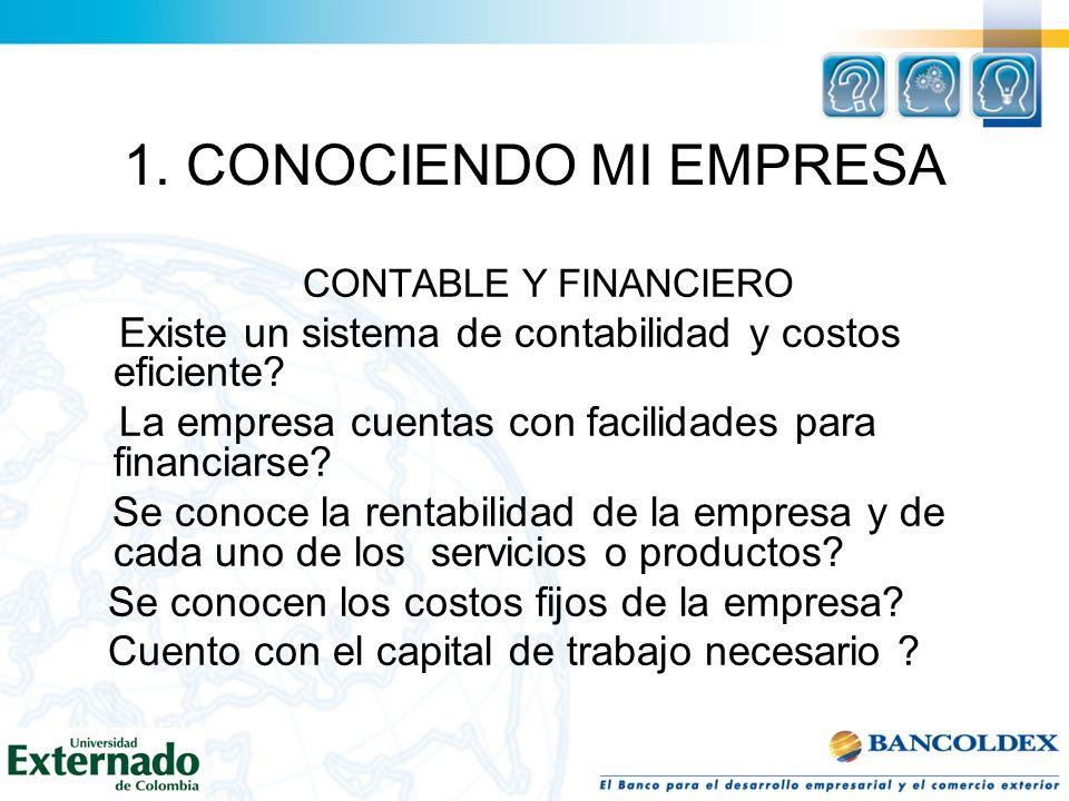 1. CONOCIENDO MI EMPRESA CONTABLE Y FINANCIERO. Existe un sistema de contabilidad y costos eficiente