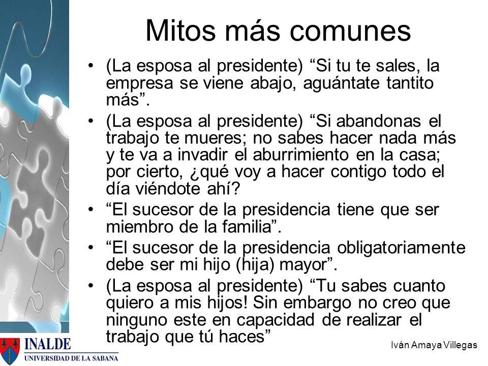 Mitos más comunes (La esposa al presidente) Si tu te sales, la empresa se viene abajo, aguántate tantito más .