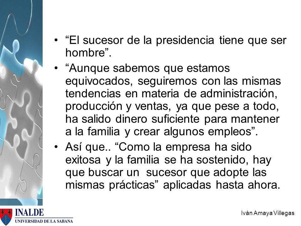 El sucesor de la presidencia tiene que ser hombre .