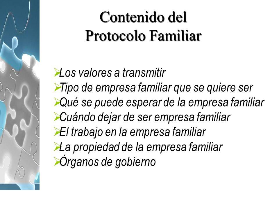 Contenido del Protocolo Familiar Los valores a transmitir