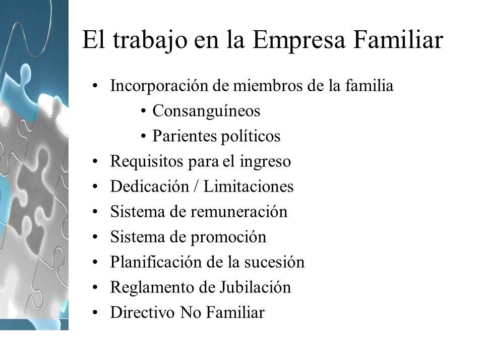 El trabajo en la Empresa Familiar