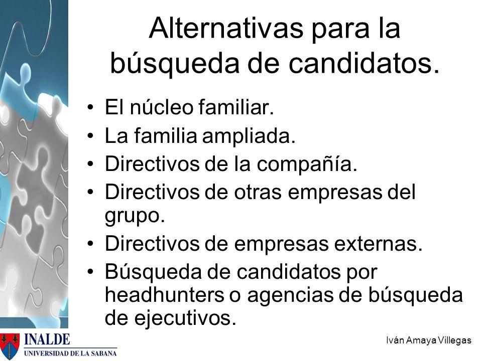 Alternativas para la búsqueda de candidatos.