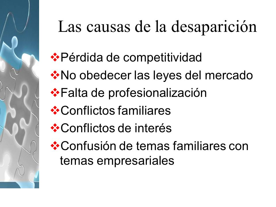 Las causas de la desaparición