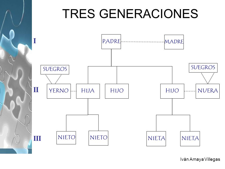 TRES GENERACIONES I II III PADRE HIJO HIJA YERNO NUERA NIETO NIETA