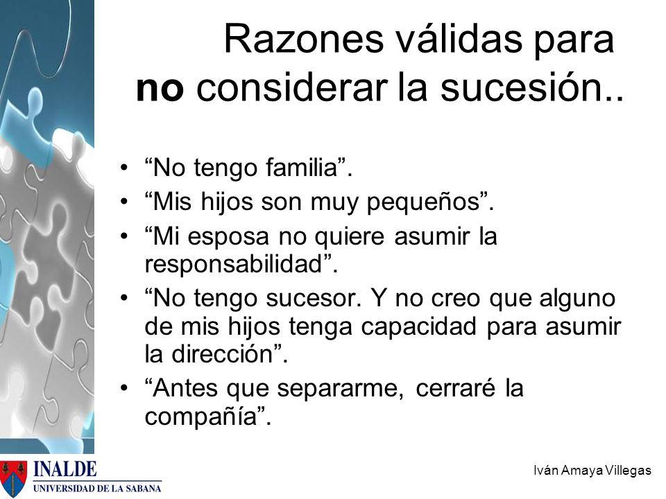 Razones válidas para no considerar la sucesión..