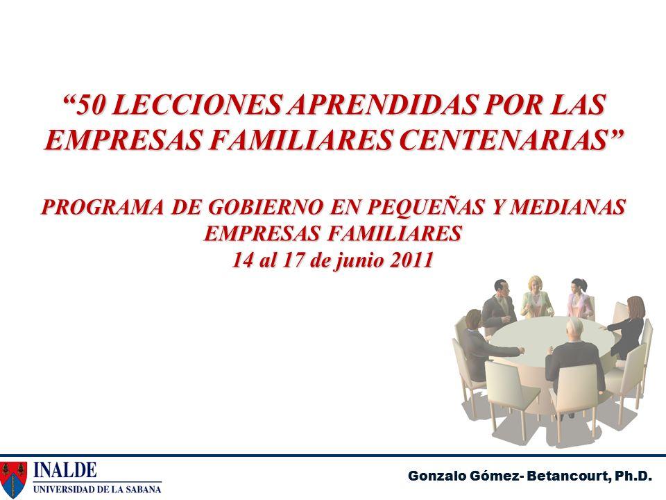 50 LECCIONES APRENDIDAS POR LAS EMPRESAS FAMILIARES CENTENARIAS PROGRAMA DE GOBIERNO EN PEQUEÑAS Y MEDIANAS EMPRESAS FAMILIARES 14 al 17 de junio 2011