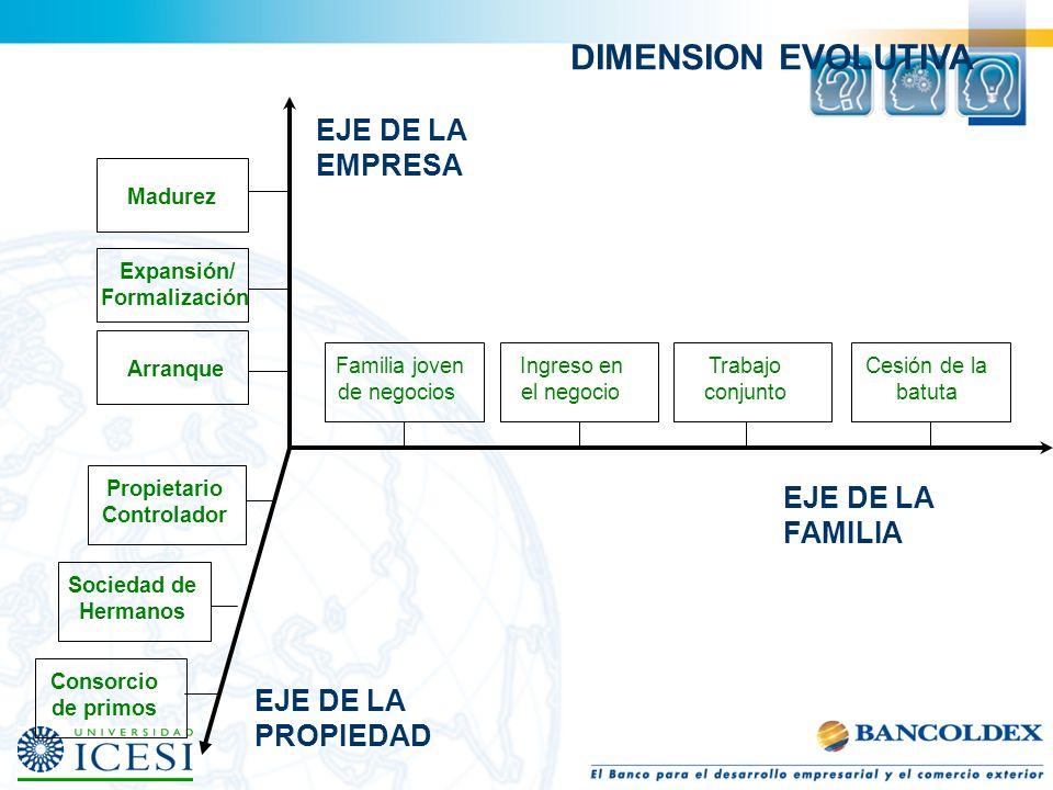 DIMENSION EVOLUTIVA EJE DE LA EMPRESA EJE DE LA FAMILIA EJE DE LA