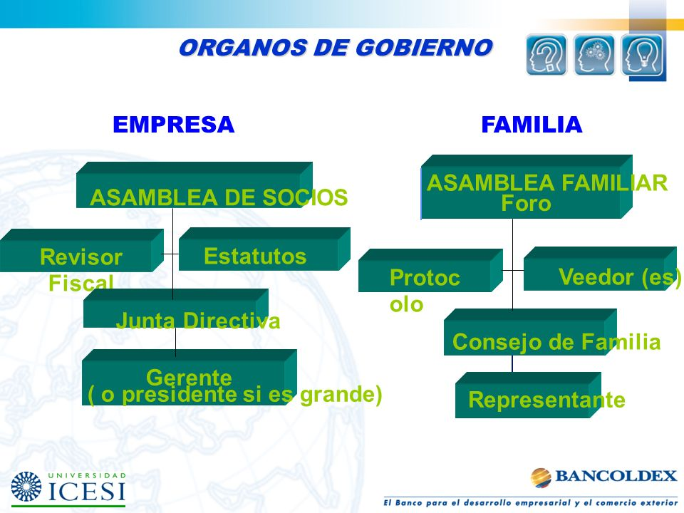 ORGANOS DE GOBIERNO EMPRESA. Revisor Fiscal. Estatutos. Gerente. ( o presidente si es grande) Junta Directiva.