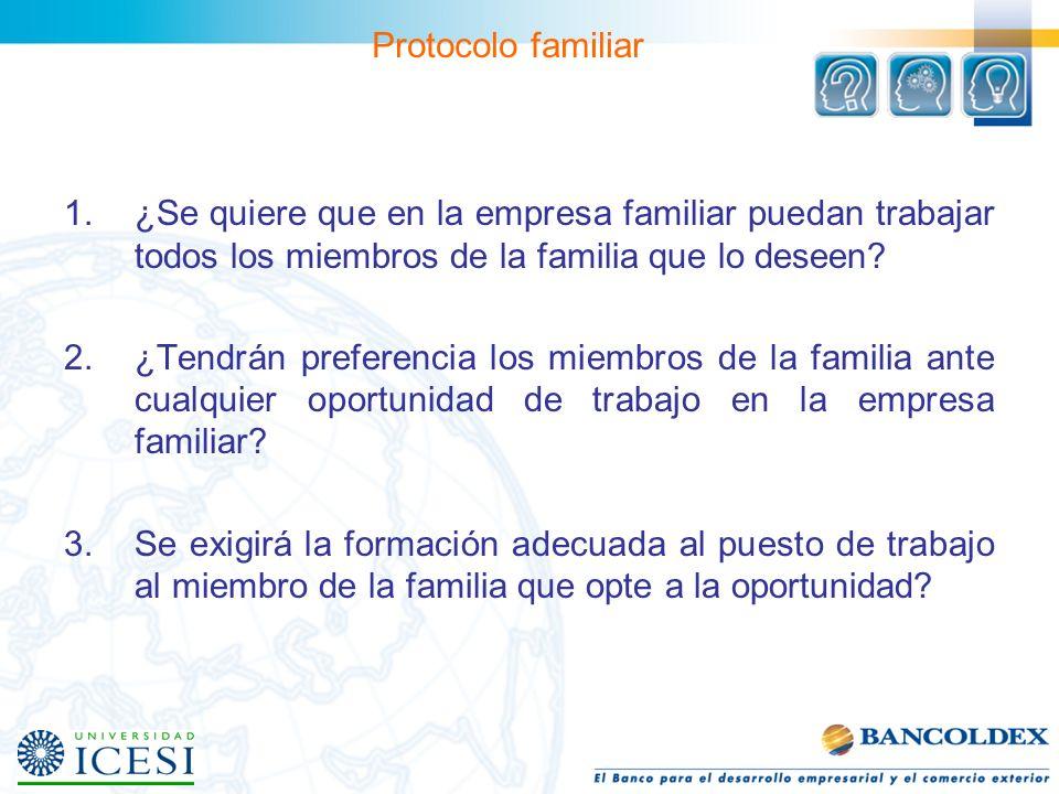 Protocolo familiar ¿Se quiere que en la empresa familiar puedan trabajar todos los miembros de la familia que lo deseen