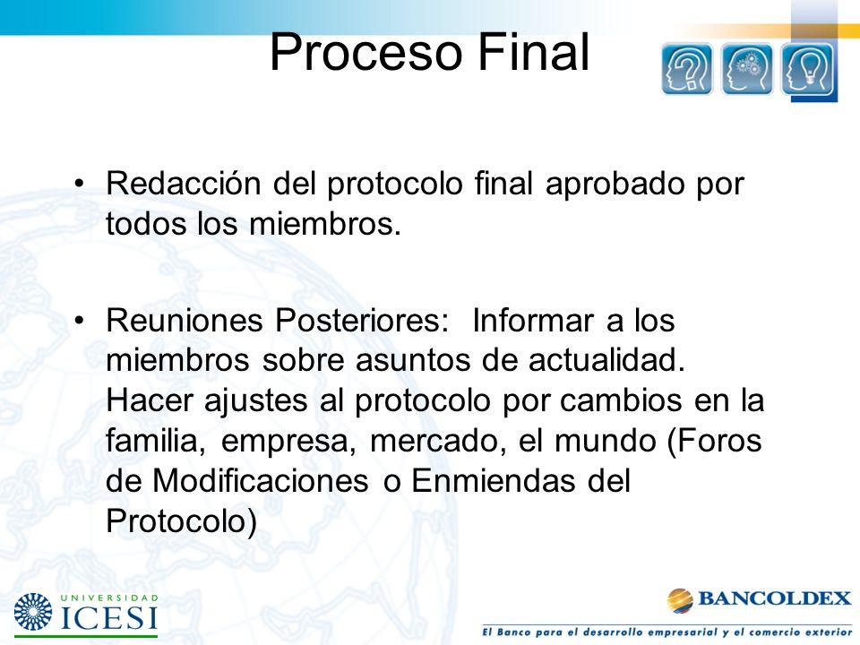 Proceso Final Redacción del protocolo final aprobado por todos los miembros.