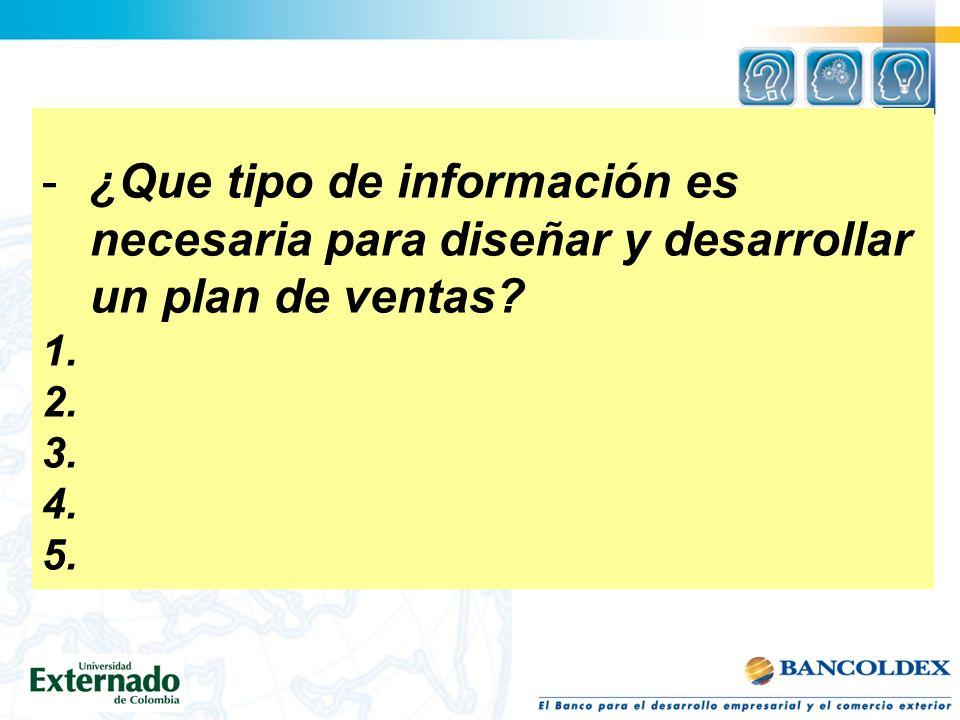 ¿Que tipo de información es necesaria para diseñar y desarrollar un plan de ventas