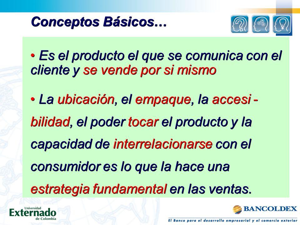 Conceptos Básicos… Es el producto el que se comunica con el cliente y se vende por si mismo. La ubicación, el empaque, la accesi -