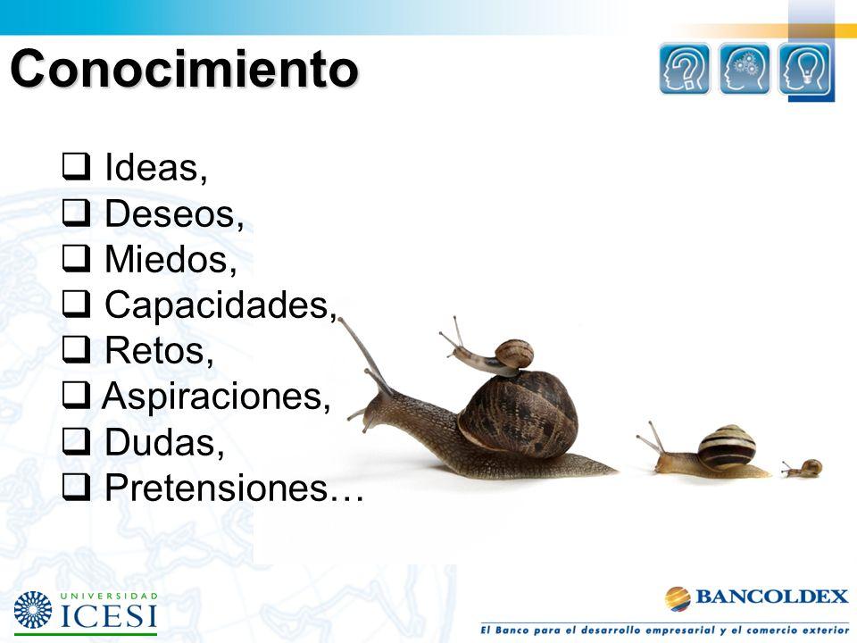 Conocimiento Ideas, Deseos, Miedos, Capacidades, Retos, Aspiraciones,