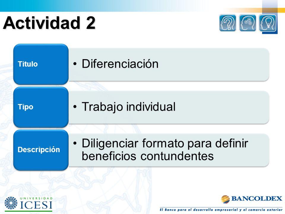 Actividad 2 Titulo Diferenciación Tipo Trabajo individual Descripción