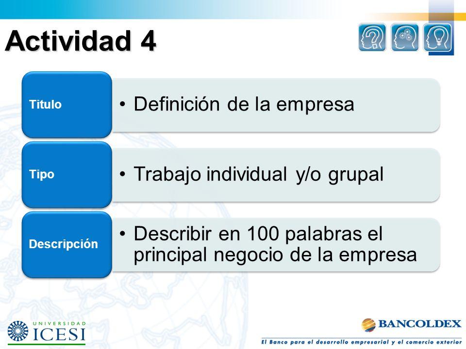 Actividad 4 Titulo Definición de la empresa Tipo