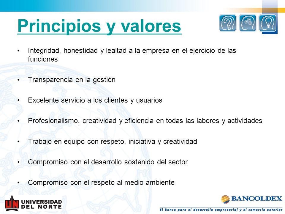 Principios y valoresIntegridad, honestidad y lealtad a la empresa en el ejercicio de las funciones.