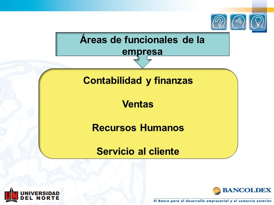 Áreas de funcionales de la empresa Contabilidad y finanzas
