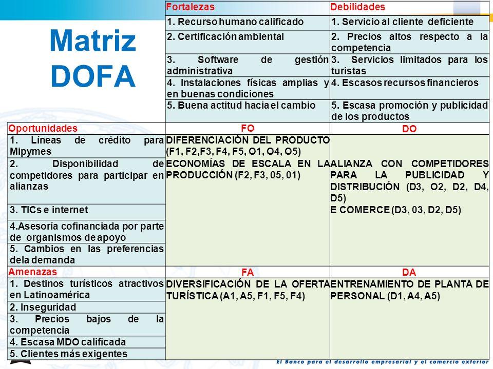 Matriz DOFA Fortalezas Debilidades 1. Recurso humano calificado