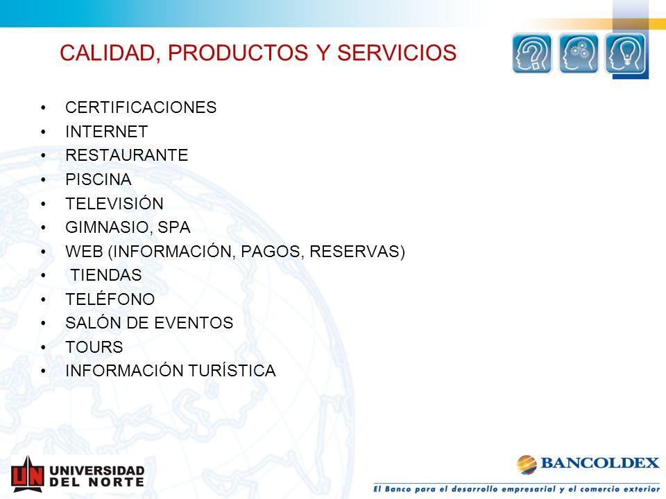 CALIDAD, PRODUCTOS Y SERVICIOS