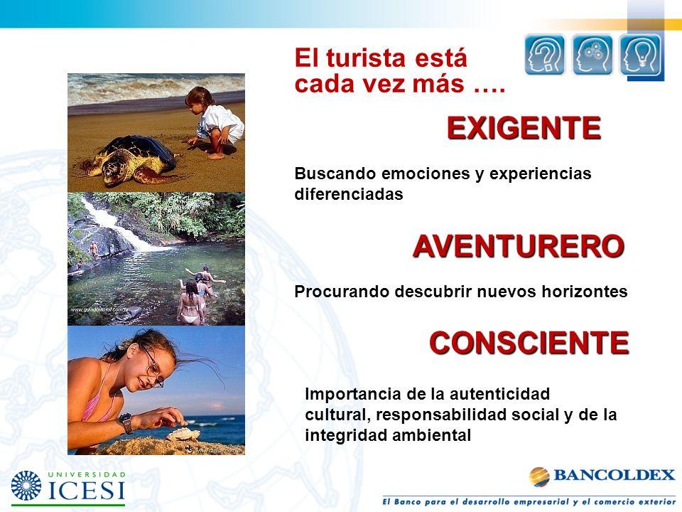 EXIGENTE AVENTURERO CONSCIENTE El turista está cada vez más ….