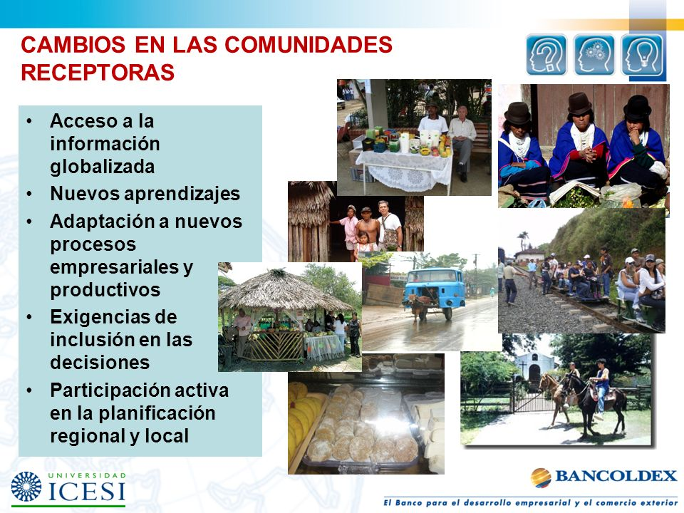 CAMBIOS EN LAS COMUNIDADES RECEPTORAS