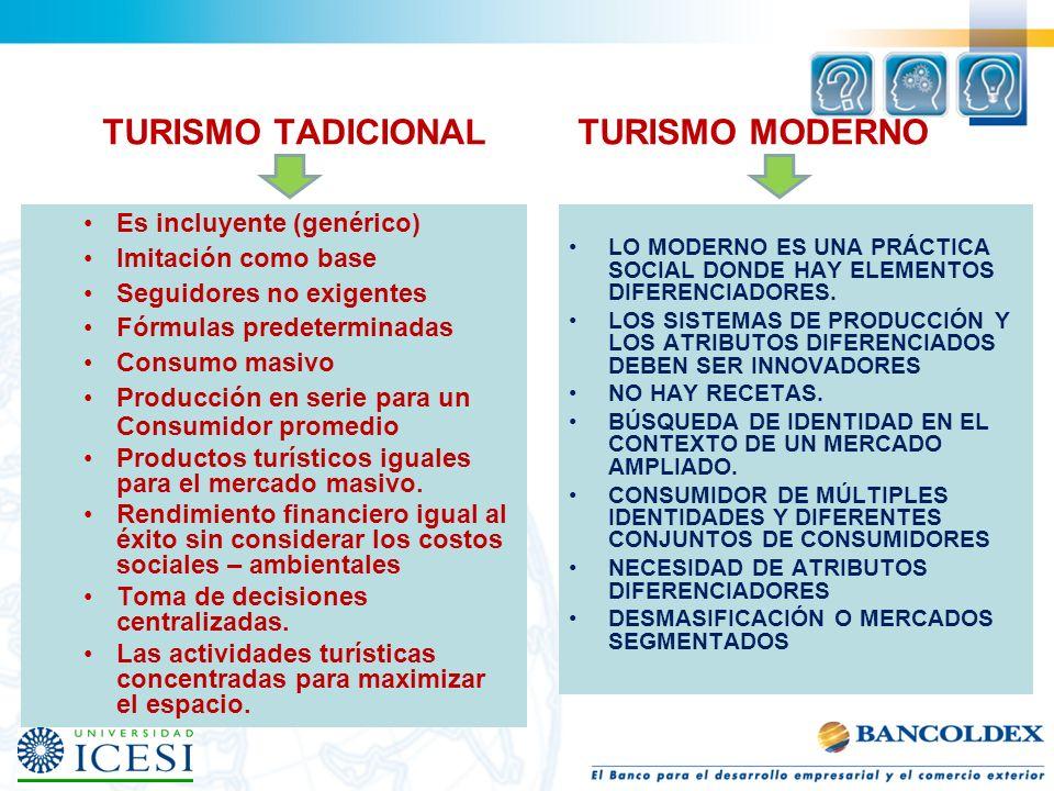 TURISMO TADICIONAL TURISMO MODERNO