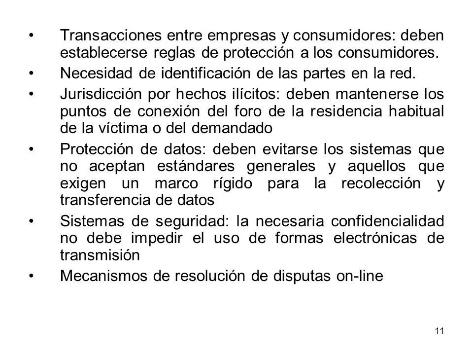 Transacciones entre empresas y consumidores: deben establecerse reglas de protección a los consumidores.