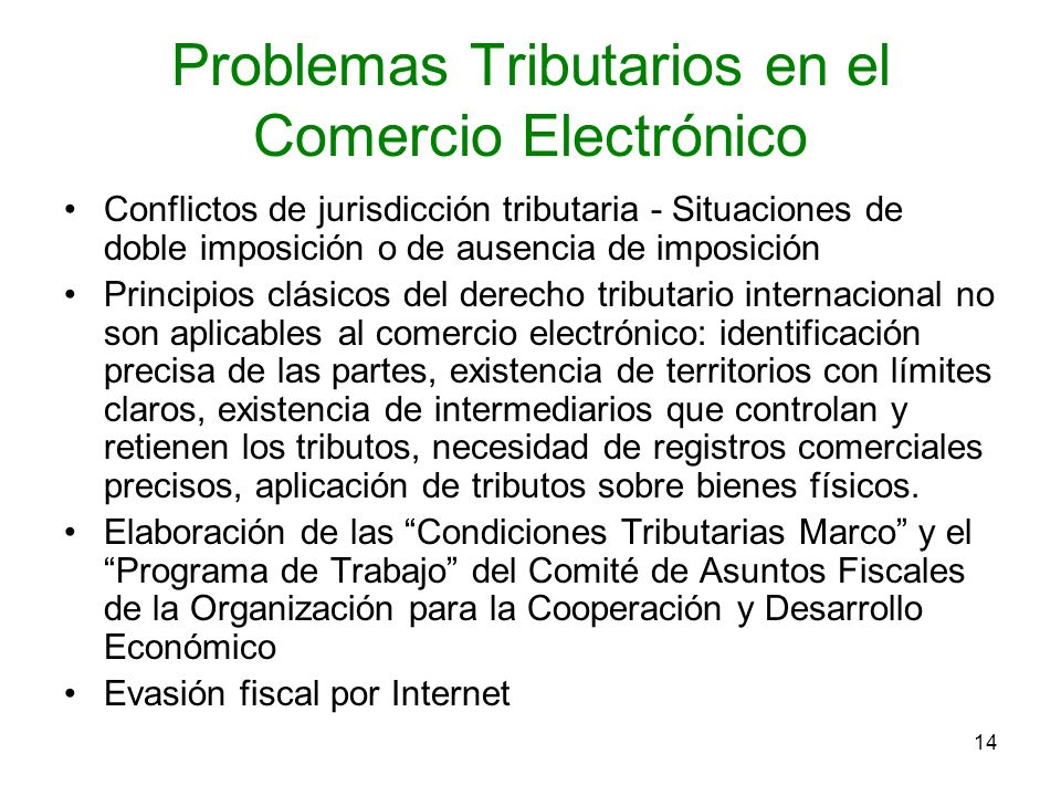 Problemas Tributarios en el Comercio Electrónico