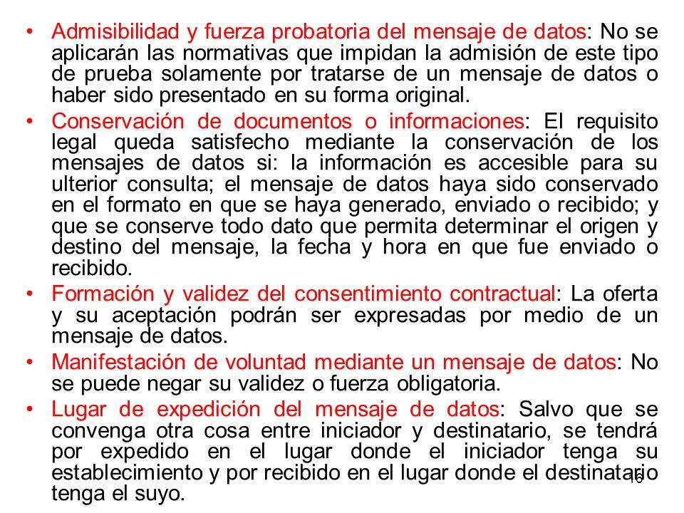 Admisibilidad y fuerza probatoria del mensaje de datos: No se aplicarán las normativas que impidan la admisión de este tipo de prueba solamente por tratarse de un mensaje de datos o haber sido presentado en su forma original.