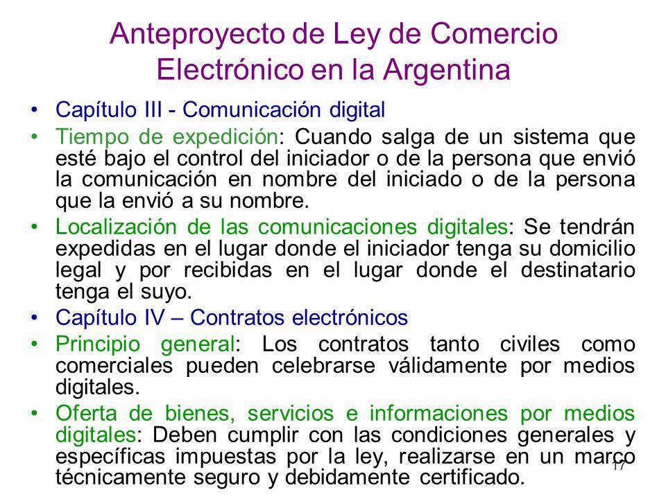 Anteproyecto de Ley de Comercio Electrónico en la Argentina