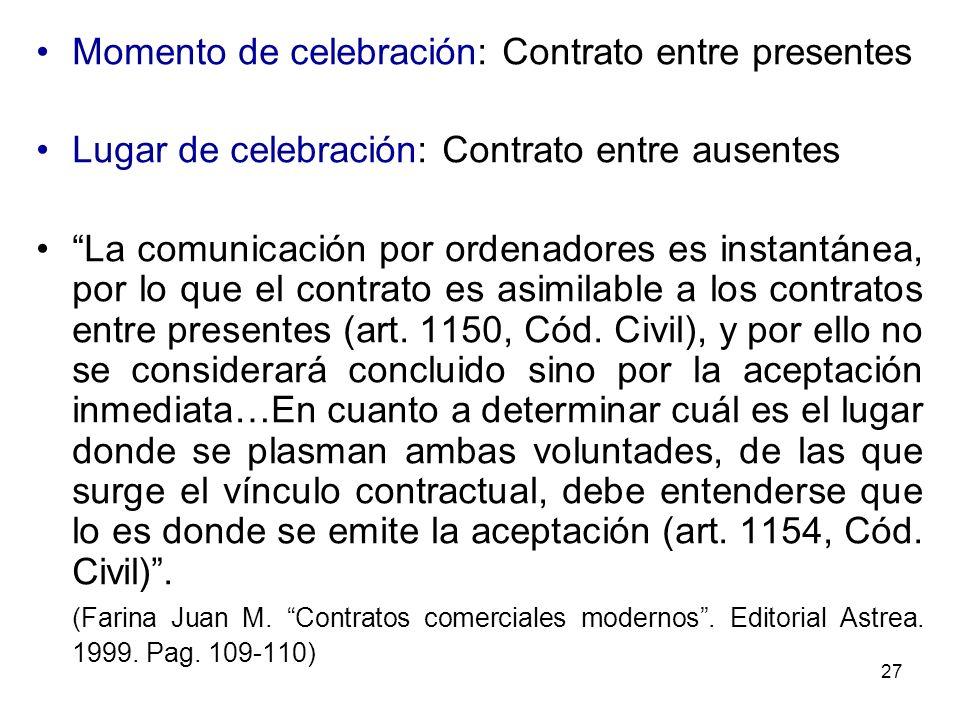 Momento de celebración: Contrato entre presentes