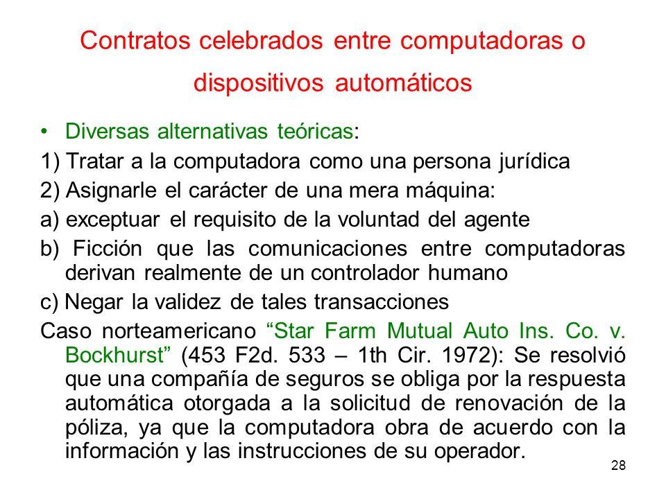 Contratos celebrados entre computadoras o dispositivos automáticos