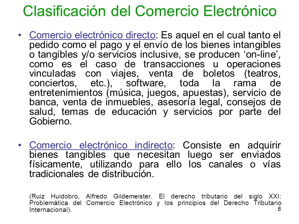 Clasificación del Comercio Electrónico