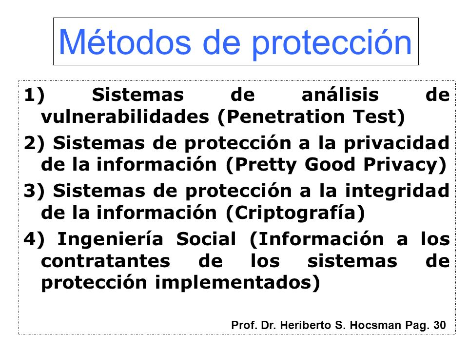 Métodos de protección1) Sistemas de análisis de vulnerabilidades (Penetration Test)