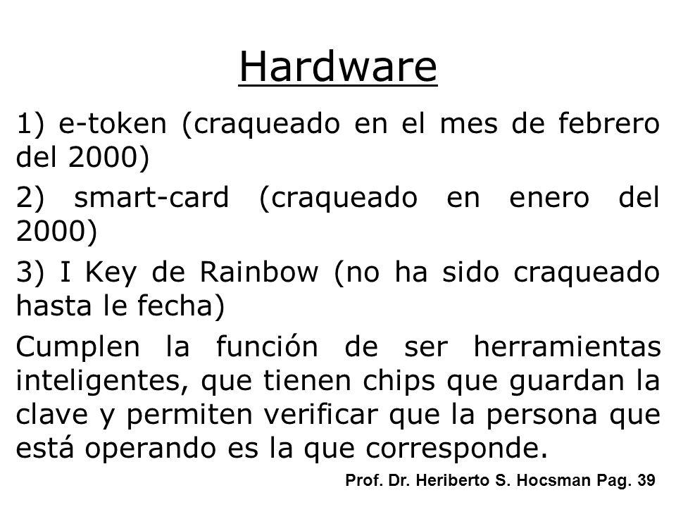 Hardware 1) e-token (craqueado en el mes de febrero del 2000)