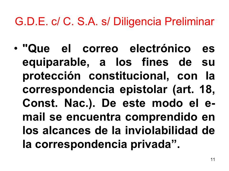G.D.E. c/ C. S.A. s/ Diligencia Preliminar