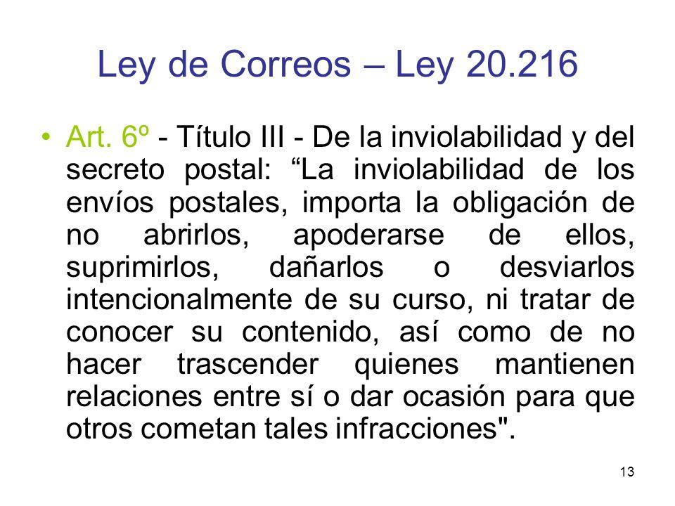 Ley de Correos – Ley 20.216