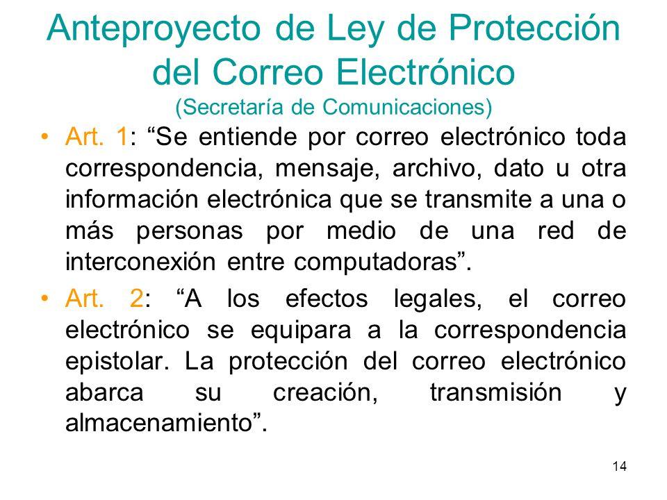 Anteproyecto de Ley de Protección del Correo Electrónico (Secretaría de Comunicaciones)