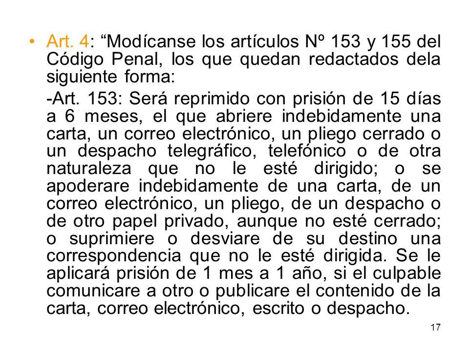 Art. 4: Modícanse los artículos Nº 153 y 155 del Código Penal, los que quedan redactados dela siguiente forma: