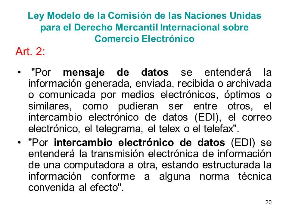 Ley Modelo de la Comisión de las Naciones Unidas para el Derecho Mercantil Internacional sobre Comercio Electrónico