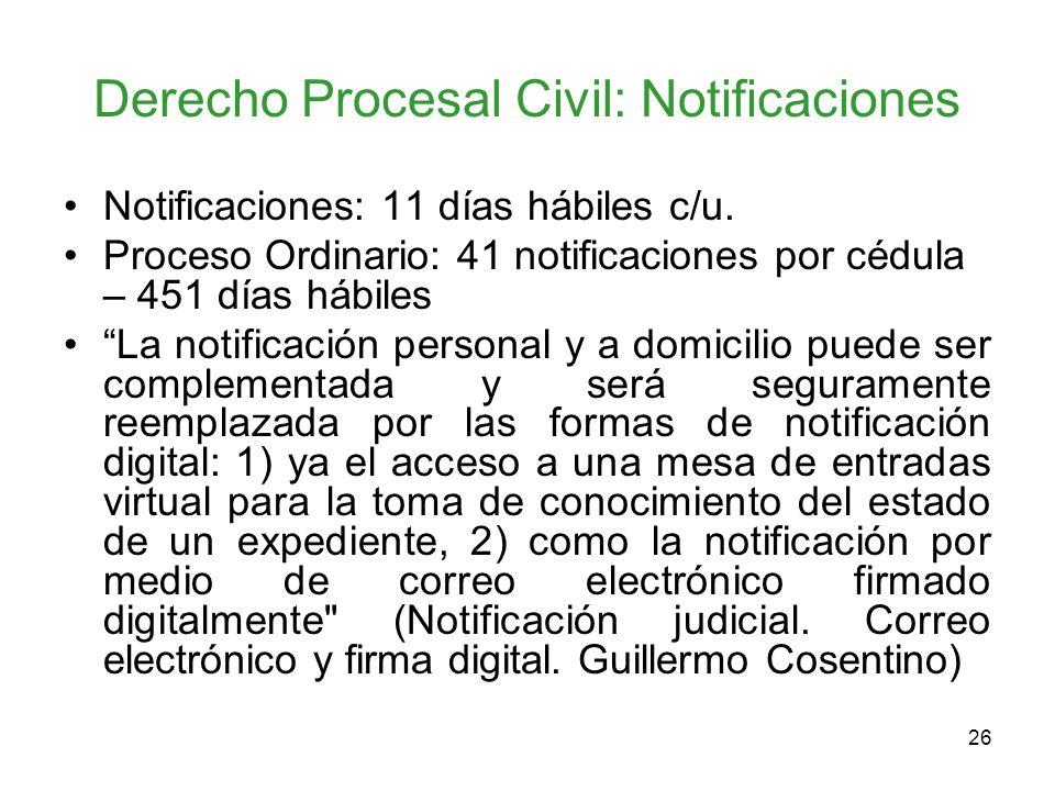Derecho Procesal Civil: Notificaciones