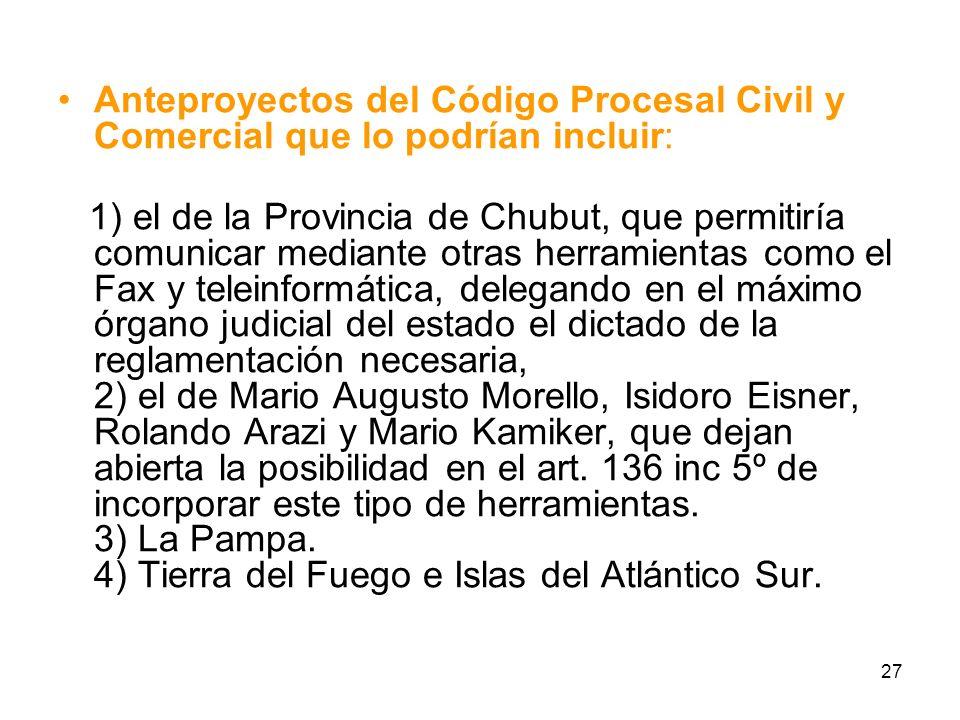Anteproyectos del Código Procesal Civil y Comercial que lo podrían incluir: