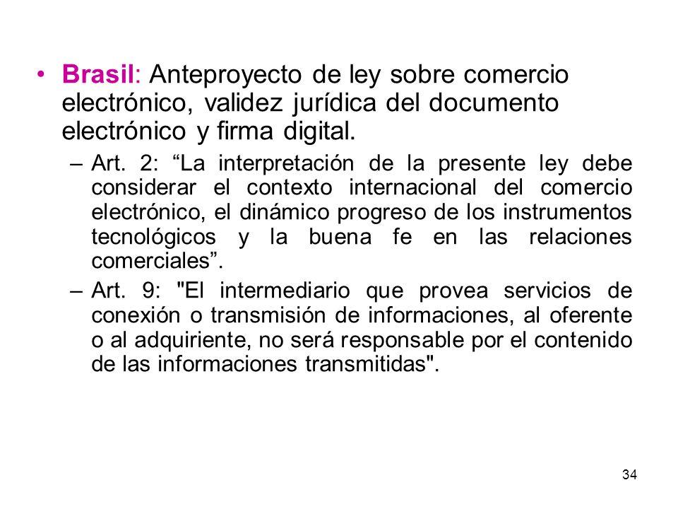 Brasil: Anteproyecto de ley sobre comercio electrónico, validez jurídica del documento electrónico y firma digital.