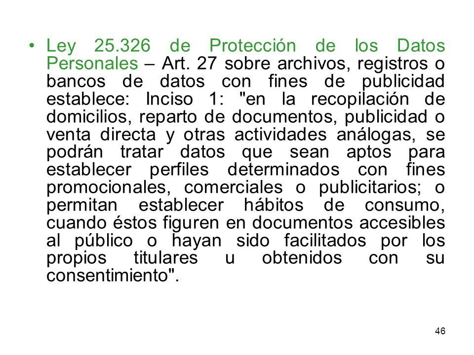 Ley 25. 326 de Protección de los Datos Personales – Art