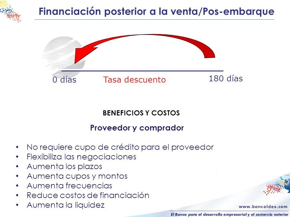 Financiación posterior a la venta/Pos-embarque