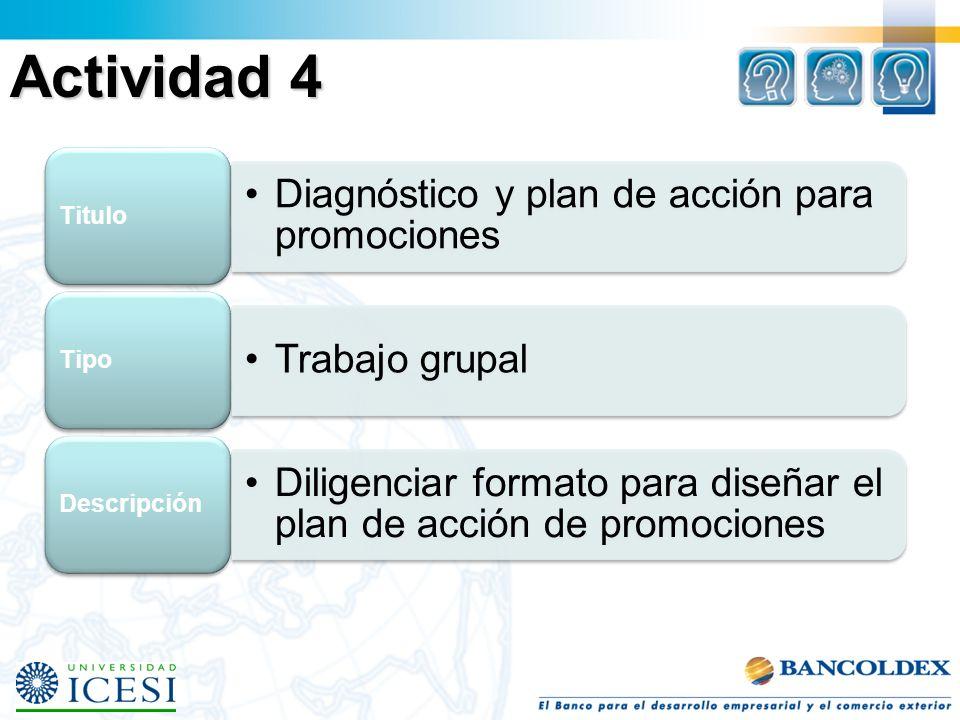 Actividad 4 Titulo Diagnóstico y plan de acción para promociones Tipo