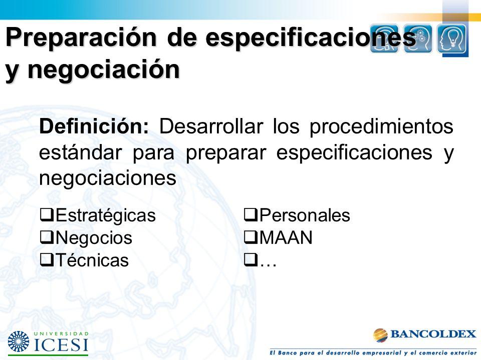 Preparación de especificaciones y negociación