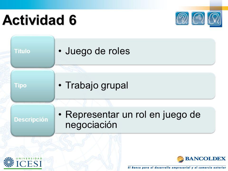 Actividad 6 Titulo Juego de roles Tipo Trabajo grupal Descripción