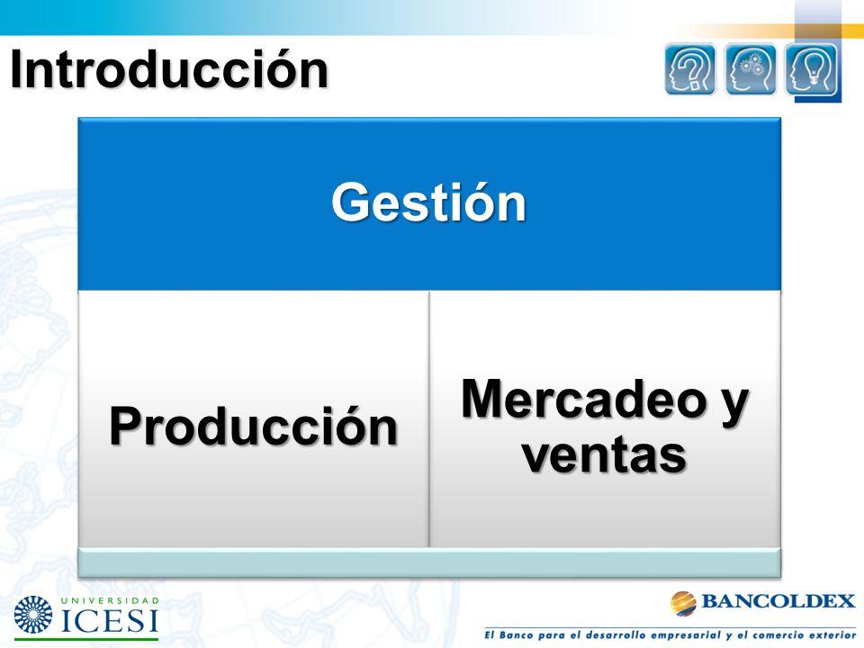 Introducción Gestión Producción Mercadeo y ventas