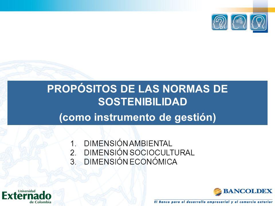 PROPÓSITOS DE LAS NORMAS DE SOSTENIBILIDAD